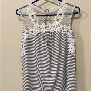 Maurices stripe lace tank gray & white small